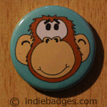 Cute Monkey Button Badge